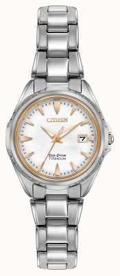 Citizen Womens titanium armband witte wijzerplaat EW2410-54A