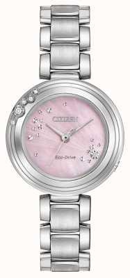 Citizen Womens eco-rijden zes diamanten WR50 roze wijzerplaat EM0460-50N
