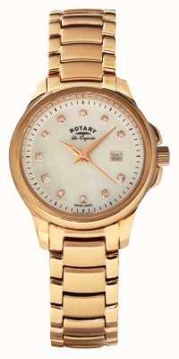Rotary Womans rose goud verguld riem pearl dial LB90120/41