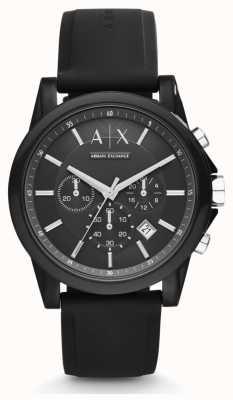 Armani Exchange Zwarte wijzerplaat in zwart lederen band heren zwart AX1326