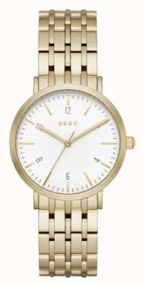 DKNY Womans roestvrij staal goud mesh band ronde witte wijzerplaat NY2503