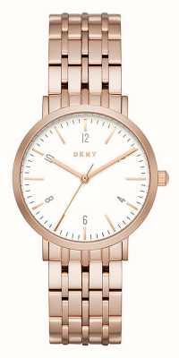 DKNY Womans rose goud RVS gaas riem ronde witte wijzerplaat NY2504