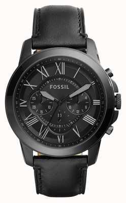 Fossil Mens zwart lederen band zwarte wijzerplaat chronograaf FS5132