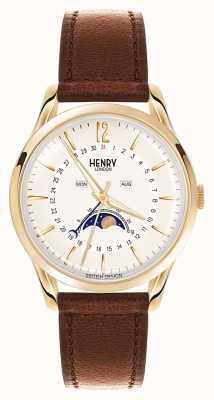 Henry London Westminster gouden kast bruin lederen band HL39-LS-0148