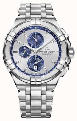 Maurice Lacroix Mens Aikon roestvrij stalen armband zilveren wijzerplaat AI1018-SS002-131-1