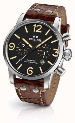 TW Steel Mens maverick chronograaf bruine lederen band zwarte wijzerplaat MS3