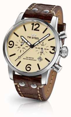TW Steel Mens maverick chronograaf bruine lederen band crème wijzerplaat MS23