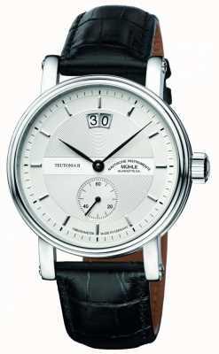 Muhle Glashutte Teutonia ii grossdatum chronometer lederen band zilveren wijzerplaat M1-33-75-LB