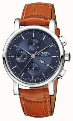 Muhle Glashutte Teutonia ii grossdatum chronometer lederen band nacht blauwe wijzerplaat M1-33-76-LB
