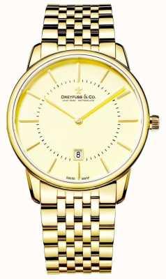 Dreyfuss Heren gouden armband met datum | gouden gezicht | DGB00136/03