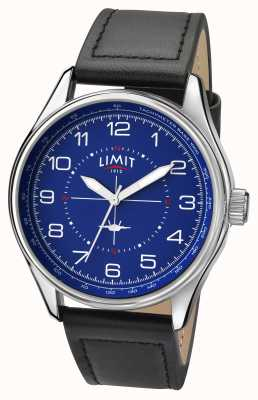 Limit Mens piloot zwarte band blauwe wijzerplaat 5618.01