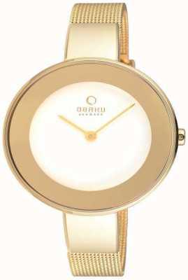 Obaku Womans gouden kast goud mesh band witte wijzerplaat V167LXGIMG