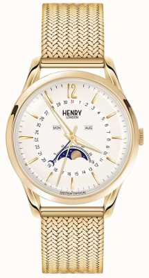 Henry London Mens maanstand goud pvd verguld HL39-LM-0160