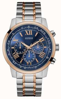 Guess Mens horizon tweekleurige metalen band blauwe chronograaf wijzerplaat W0379G7