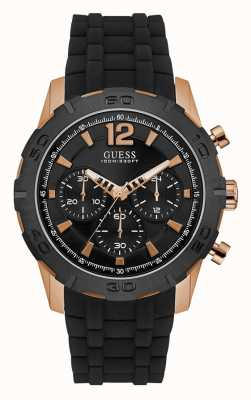 Guess Mens kaliber sport zwarte chronograaf wijzerplaat roze gouden hoesje W0864G2