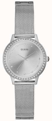 Guess Womans chelsea zilver mesh riem ronde zilveren wijzerplaat set W0647L6