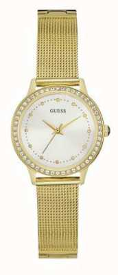 Guess Womans Chelsea Gouden Maasband Wit Dial Stoneset W0647L7