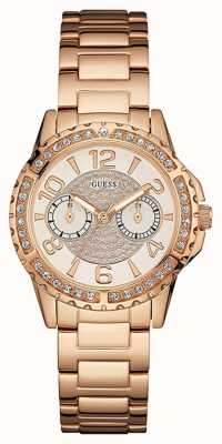 Guess Womans sassy rose goud metalen band steen gouden wijzerplaat set W0705L3