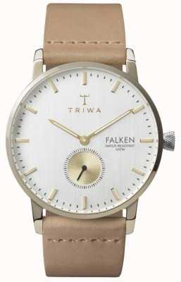 Triwa Unisex berken valken tan band witte wijzerplaat FAST105-CL010617