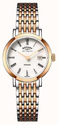 Rotary Womans Windsor two tone zilveren roos goud metalen band LB90155/01