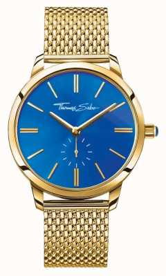 Thomas Sabo Womans glam geest roestvrij staal goud mesh band blauwe wijzerplaat WA0274-264-209-33