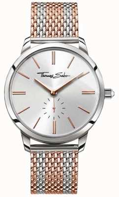 Thomas Sabo Mens rebel geest two tone rose goud stalen gaas riem WA0270-283-201-42