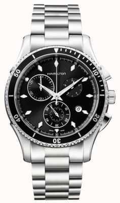 Hamilton Mens Jazzmaster zeezicht zwart chronograaf wijzerplaat H37512131