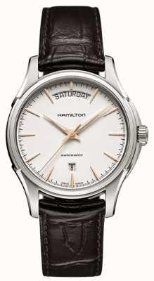 Hamilton Mens Jazzmaster dag bruine lederen band H32505511