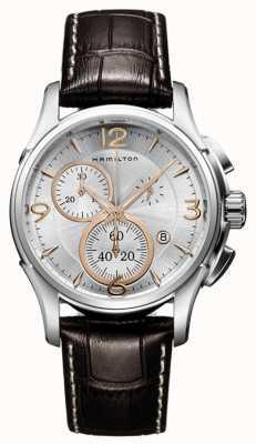 Hamilton Mens Jazzmaster quartz chronograaf zilveren wijzerplaat H32612555