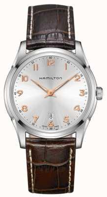 Hamilton Mens Jazzmaster Thinline bruin lederen band zilveren wijzerplaat H38511513