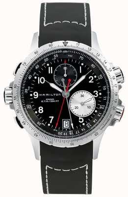 Hamilton Kaki eto flyback chronograaf zwarte rubberen band voor heren H77612333