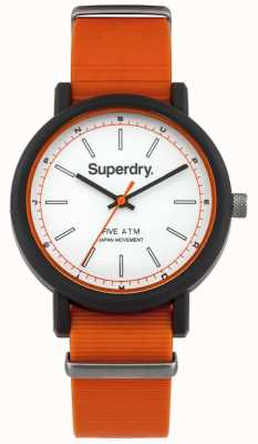 Superdry Mens campus nato oranje rubberen riem witte wijzerplaat SYG197O