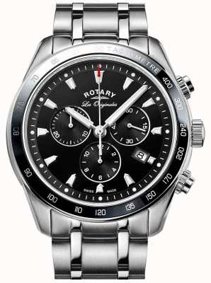 Rotary Mens legacy chronograaf roestvrij staal zwarte wijzerplaat GB90169/04