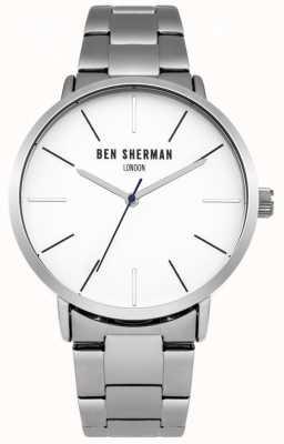 Ben Sherman Heren roestvrij staal witte wijzerplaat WB054SM