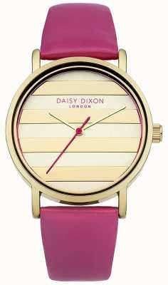 Daisy Dixon Vrouwen papaver roze lederen band gouden wijzerplaat DD009PG