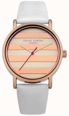 Daisy Dixon Womens papaver witte lederen band rose goud wijzerplaat DD009WRG