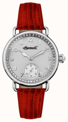 Ingersoll Womens kroniek de trenton rode lederen riem zilveren wijzerplaat I03601
