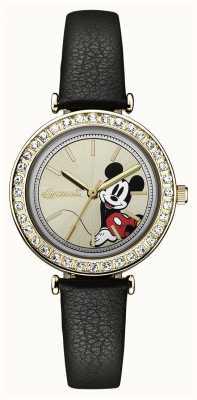 Disney By Ingersoll Dames unie de disney zwarte lederen band zilveren wijzerplaat ID00301