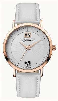 Disney By Ingersoll Dames unie de disney witte lederen band zilveren wijzerplaat ID00502