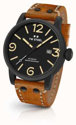 TW Steel Mens maverick black sandwich wijzerplaat bruin lederen band 45mm MS31