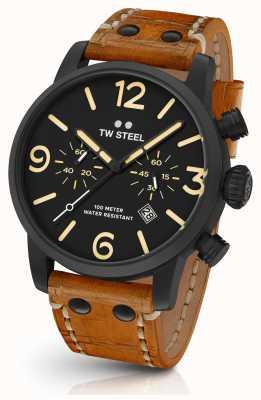 TW Steel Mens maverick black sandwich chronograaf bruin leer 45mm MS33
