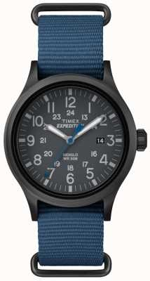 Timex Mens scout zwarte wijzerplaat blauwe stofbandje TW4B04800