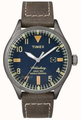 Timex Mens waterbury bruine lederen band marine wijzerplaat TW2P83800