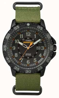 Timex Mens gallatin groene stof band zwarte wijzerplaat TW4B03600