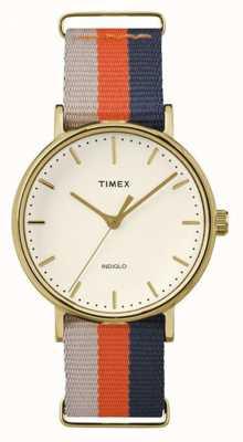 Timex Unisex weekender fairfax oranje bruine riem TW2P91600
