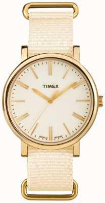 Timex Unisex cream dial cream stoffenriem TW2P88800