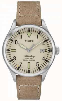 Timex UNISEX de Waterbury crème wijzerplaat beige riem TW2P84500