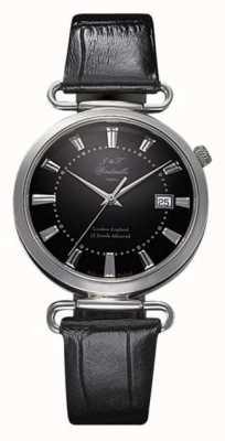 J&T Windmills Mens Throgmorton mechanisch horloge zwarte wijzerplaat sterling zilver WGS10005/04