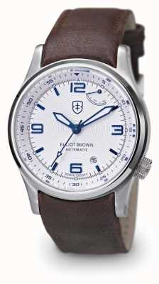 Elliot Brown Mens tyneham bruin lederen band witte wijzerplaat 305-004-L14