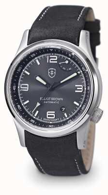 Elliot Brown Mens tyneham zwart lederen band zwarte wijzerplaat 305-005-L15